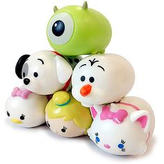 Disney Tsum-Tsum Squishy Stackable Figure 5 Pack With Key Pod