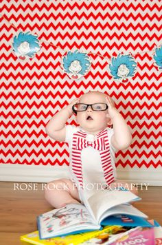 Dr. Seuss, 6 month photos, baby boy, reading, books, Rose Rock Photography