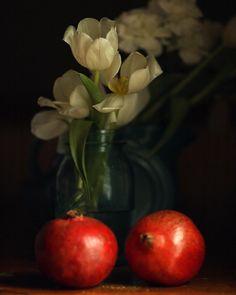 Dark Photography Dark Still Life Photograph of Tulips and Pomegranates