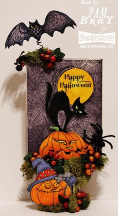 """I am so excited to share with you my """"Halloween is a Time for Haunting"""" table decoration today for the 31 Days of Halloween with Stampen. 31 Days Of Halloween, Halloween Cards, Halloween Images, Halloween Stuff, Halloween Scrapbook, Different Holidays, Distressed Painting, Decoration, Trick Or Treat"""