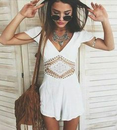 $50 Cute Cool Lace Cut Out White Romper One Piece Summer Festival Inspired Outfit