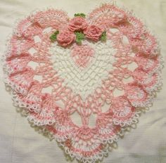 pink and white heart lace crocheted doily home decor handmade in USA original design on Etsy, $39.99