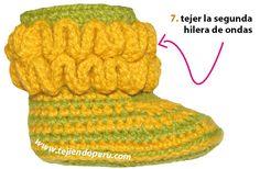 Botitas con ondas bebe (wiggle crochet booties) - Tejiendo Perú Crochet Hats, Baby Booties, Diy, Fashion, Crochet Baby Shoes, Slippers, Crochet Animals, Needlepoint, Knitting Hats