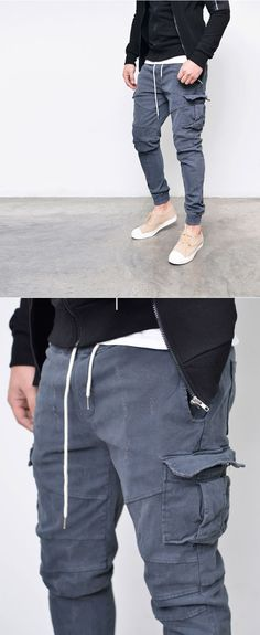 Bottoms :: Stone Washed Slim Cargo Jogger-Pants 211 - Mens Fashion Clothing For An Attractive Guy Look