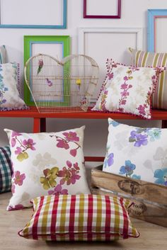 Country Rose, furnishing fabrics by Svenmill Ltd Country Roses, Country, Throw Pillows, Home, Fabric, Bed, Pillows, Inspiration, Furnishings