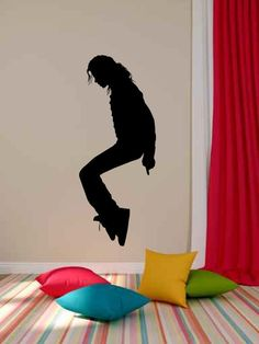 Michael Jackson Vinyl Wall Decal Sticker Graphic Made from 10 year high quality vinyl which leaves no residue upon removal. Measures 22 x 50 inches. We make each design as it is ordered. Please allow Michael Jackson Vinyl, Name Wall Decals, Wall Decal Sticker, Wall Stickers, Wall Stencil Designs, Jackson Family, Dream Wall, Hand Painting Art, Bedroom Decor