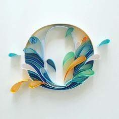 Water inspired letter O Quilling Letters, Quilling Craft, Quilling Flowers, Quilling Designs, Paper Quilling, Typography Alphabet, Cool Typography, Cool Lettering, Monogram Alphabet