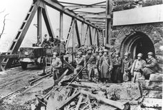 The just captured Ludendorff Bridge (Bridge at Remagen) by American troops, March 1945.