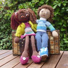 Strikkedukker Lulu + Hannes