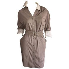 Preowned Sexy Vintage Thierry Mugler Avant Garde Belted Khaki Safari... ($855) ❤ liked on Polyvore featuring dresses, doll clothes, cocktail dresses, grey, vintage dresses, baby doll dress, sexy dresses, belted shirt dress and khaki shirt dress