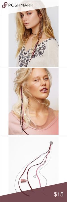 Free People Desert Night Boho Hair Braid In Clip Free People Desert Hair Braid In Clip  $24 retail brand new Details Run this edgy braid in through your strands to add a subtle pop to your locks. Microfiber suede cord dripping with plated brass metal chains. Clips easily into hair. Plated Brass. Microfiber Suede. Color: pink Free People Accessories Hair Accessories
