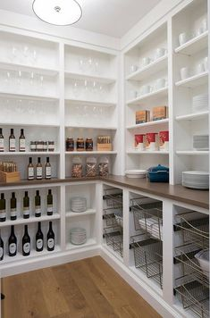 10 Great Pantry Design Ideas for Your Kitchen ~ oneplustwo design co. - - These beautiful pantry design ideas will inspire you to spruce up your own kitchen pantry. Check out these designer tips to create your best pantry design. Kitchen Pantry Design, Kitchen Pantry Cabinets, Interior Design Kitchen, Kitchen Countertops, Kitchen Ideas, Kitchen Decor, Kitchen Shelves, Kitchen Drawers, Kitchen Tables