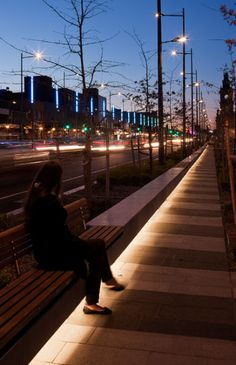 central (blue), pedestrian, and road lighting. // walking alone there, feels like... sendu2 galau gimanna getoh
