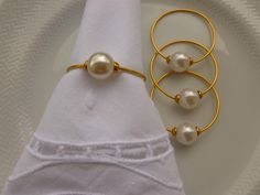 Napkin Origami, Pearl Crafts, Gold Necklace, Pearl Earrings, Mercury Glass, Tablescapes, Napkin Rings, Diy And Crafts, Napkins