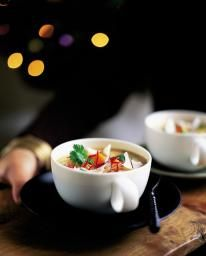 A lovely, warming winter soup that's easy to make. It looks wicked in little tea cups with chilli, coriander and fresh coconut sprinkled on the top. {Jamie Oliver }
