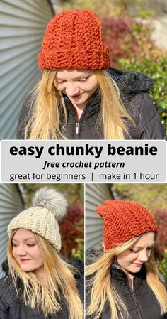 "Who doesn't love a cozy hat in the fall and winter? Now you can make your very own beautiful handmade beanie – in just an hour or less! This is the perfect DIY project to make for everyone on your holiday gift list! The hat works up quickly thanks to the chunky yarn, and it can be worn two ways – as a slouchy hat, or with the ""brim"" rolled up to make a tighter fitting hat. The pattern even includes instructions on how to adjust for different sizes, like children's and men's! #crochet…"