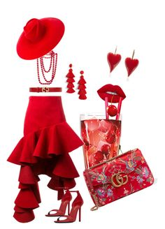"""Red"" by fanipolychroniou on Polyvore featuring Jacquemus, Gucci, Yves Saint Laurent, BaubleBar and Chanel"