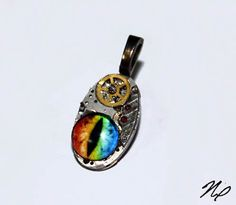 Glass Eye Pendant - Ghost in the Machine - Silver Steampunk Altered Art Rainbow Dragon Eye Pendant with Necklace by Nixcreations, $40.00