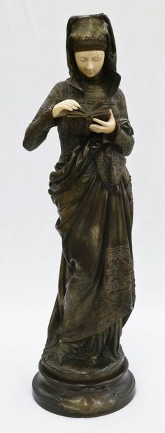 Albert Ernest Carrier Belleuse (1824-87): 'Liseuse' Woman reading book. Bronze sculpture with carved ivory face and hands