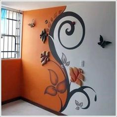 When looking to a source for interior decorating inspiration, be critical in a way that will help you to refine and define your own taste. When turning to the work of another designer for decorating ideas, carefully look at the room and consider the Ceiling Design, Wall Design, 3d Design, Design Ideas, Wall Painting Decor, Creative Walls, Creative Ideas, Paint Designs, Wall Murals