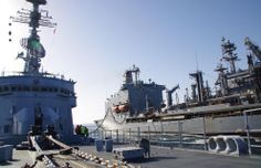 French Marine Nationale anit aircraft frigate FS Jean Bart refuelling in the north Arabian Sea from USNS Big Horn (T-AO-198), 8 April 2014, simultaneously with carrier USS George Bush. FS Jean Bart has been in the Indian Ocean & Red Sea areas as part of Operation Freedom, working with US & allied forces in the anti terrorist/piracy role since 27 February.