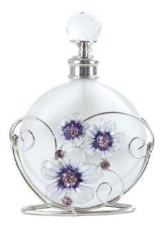 Purple Butterfly & Crystal Flower Perfume Bottle New by cristina Crystal Perfume Bottles, Antique Perfume Bottles, Vintage Bottles, Flower Perfume, Glas Art, Beautiful Perfume, Bottle Vase, Glass Vase, Purple Butterfly