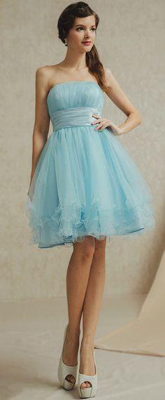 robe princesse bleu de soirée courte bustier droit