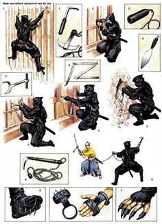 The ninja could use a diverse array of specialized weapons and equipment under appropriate circumstances. The majority of these ninja tools appear in Bansen Shukai, a famed seventeenth-century ninja manual. Armadura Ninja, Ninja Kunst, Ninja Gear, Ninja Training, Martial Arts Weapons, Ninja Weapons, Samurai Weapons, Martial Arts Techniques, Armadura Medieval