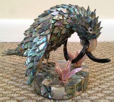 Vintage Abalone Parrot Bird Sculpture Figurine Statue