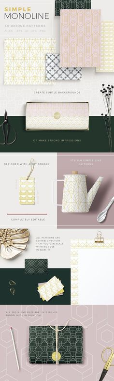 Simple Mono Line Patterns by Youandigraphics on @creativemarket