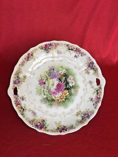 T Gorgeous C Germany Two Handled Deep Pink Yellow Floral Scalloped Plate Bowl Beautiful In Colour