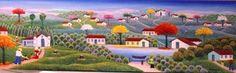 VALQUIRIA BARROS REGRESSO COM AJUR SP PARA DIVULGAÇAO (Pintura),  100x30 cm por Arte Naif AJUR SP VENDEDOR E DIVULGADOR DA ARTE NAIF BRASILEIRA
