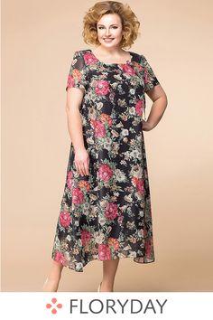 Floral short sleeve midi A-line dress, floral dress, beautiful, plus size, preorder. Big Size Fashion, Fat Fashion, Wedding Dresses Plus Size, Plus Size Dresses, Short Dresses, Emerald Dresses, Iranian Women Fashion, Big Size Dress, Mom Dress