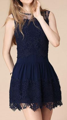 Mini Blue Lace Dress (can we make it a tad bit longer)