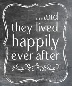 And They Lived Happily Ever After - Fairy Tale Ending - 11 x 14 Chalkboard Look Print - Makes A Wonderful Wedding Gift. $20.00, via Etsy.