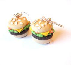 Hamburger alimentaire de boucle d'oreille par InspirationsByNell