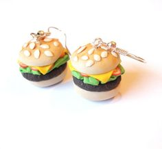 Hamburger Earrings Food Earrings polymer by InspirationsByNell