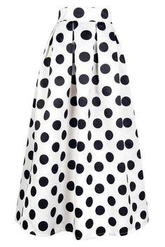 High Waist Polka Dot Print Pleated Maxi Skirt