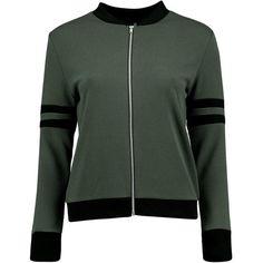 Boohoo Sara Sports Bomber Jacket | Boohoo ($26) ❤ liked on Polyvore featuring outerwear, jackets, blouson jacket, puffy jacket, bomber puffer jacket, bomber jacket and sports jacket
