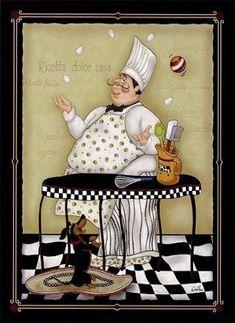 yasminx sewing ideas: decoupage prints for kitchen (mutfak için dekupaj resimleri) Chef Pictures, Kitchen Pictures, Chef Kitchen Decor, Kitchen Art, Whimsical Kitchen, Foto Transfer, Creation Photo, Le Chef, Decoupage Paper