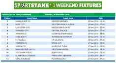 #SportStake13 Weekend Fixtures - 26 November 2016  https://www.playcasino.co.za/sportstake-weekend-fixtures.html