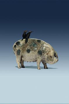 Ceramic Pig sculpture by Celia Allen