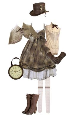 """""""Steam Lolita Coord 5"""" by sakuuya ❤ liked on Polyvore featuring Overland Sheepskin Co., women's clothing, women, female, woman, misses and juniors"""
