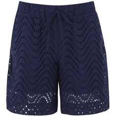 Victoria Beckham Denim Navy broderie anglaise shorts ($130) ❤ liked on Polyvore featuring shorts, pull on shorts, cotton shorts, navy blue shorts and navy shorts