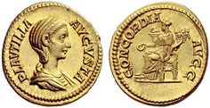 Plautilla (202-205). Aureus, 7.40 g. PLAVTILLA – AVGVSTA. Draped bust r. / CONCORDIA – AVGG (duorum avgvstorvm). Concordia seated l., holding patera and double cornucopiae. C 4. BMC Caracalla 416. RIC Caracalla 364. Calicó 2867a. Very rare, in exceptional condition for the issue and among the finest specimens known. A very attractive portrait on a full flan, virtually as struck and almost FDC.