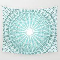 Wall Tapestry featuring Mint Mandala by Nina Baydur  #digital #mandala #homedecor