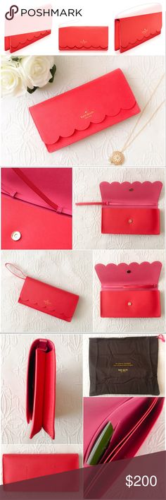 Kate Spade Kiki Lily Avenue Convertible Clutch  Kate Spade Kiki Lily Avenue Scallop. Adorable clutch in a gorgeous watermelon color!   BRANDE NEW WITH TAGS. Comes with dust bag. Convertible and versatile bag with an adjustable strap that can turn it into a clutch, wristlet or small handbag! Perfect for summer! kate spade Bags Clutches & Wristlets