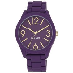 Nine West  Rubberized Bracelet Watch ($37) ❤ liked on Polyvore featuring jewelry, watches, purple, nine west watches, rubber jewelry, watch bracelet, quartz movement watches and bracelet watch