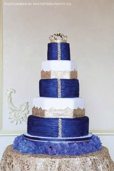 Sapphire blue and gold wedding cake