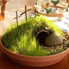 Easter Garden... using a small flower pot buried under soil for the tomb.  Plant grass seeds and spritz with water (will sprout in 7-10 days).  CUTE IDEA!!!!